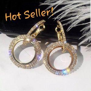 🌟 Rose Gold Crystal Luxury Hoop Earrings